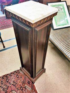 Marble & mahogany  topped pedestal