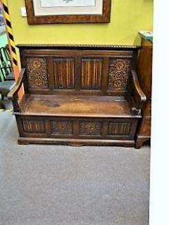 Victorian carved oak monks bench