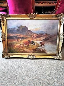 Scottish gilt framed oil painting, signed