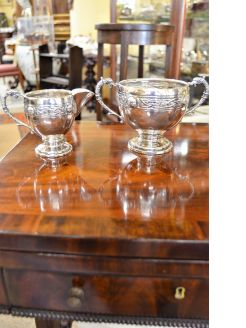 Silver sugar bowl & cream jug