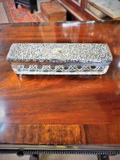 Silver topped trinket box