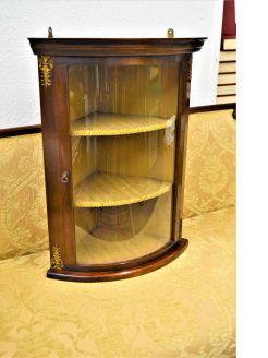 1950s mahogany hanging corner cabinet