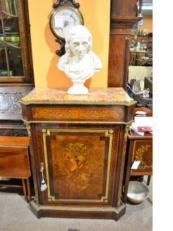 19th century walnut marble top cabinet