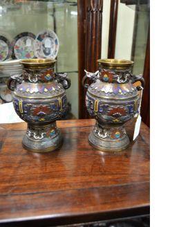 Pair of metalware japanese vases