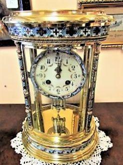 Brass & Clossonie victorian four glass clock