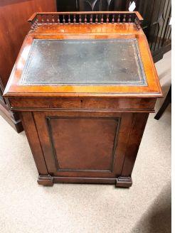 Burr walnut davenport desk with sliding top