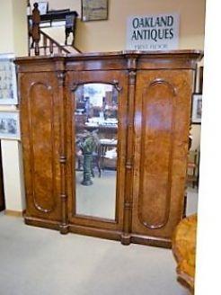 Victorian burr-walnut three door wardrobe