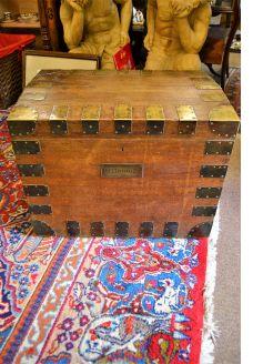 Victorian oak and brass bound silver chest