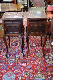 Pair of french mahogany marble top pedestals
