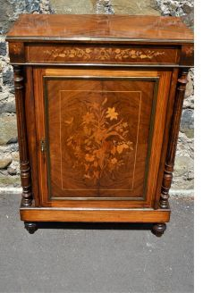 19th century walnut side cabinet with inlay
