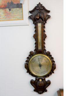 Victorian carved oak barometer