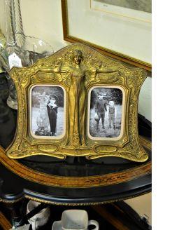Art nouveau gilt metal picture frame