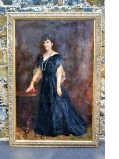 Large gilt framed oil portrait
