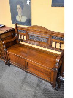 19th century mahogany monks bench