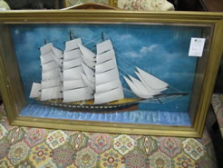 A cased model ship