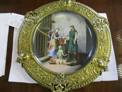 A 19th century hand painted plate