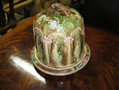 A 19th century Majolica Cheese Dish and Cover