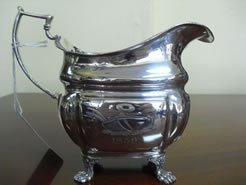 An Irish silver sauce boat.