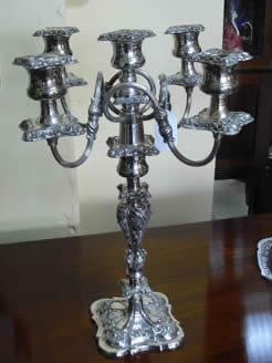 A silver plated candelabrum
