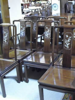 Set of  Eight Chinese Cherrywood Chairs.