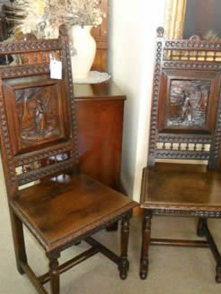 Pair of Victorian Carved Oak Chairs