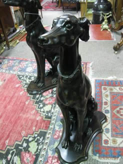 Pair of carved wooden dogs