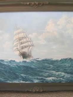 Oil on canvas painting of Ship , signed