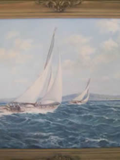 Oil painting on canvas Yachting, signed
