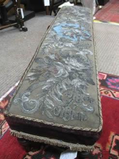 Victorian mahogany beadwork fender stool
