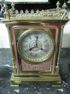 Victorian brass cased mantle clock