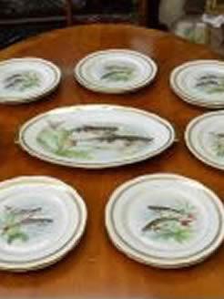 13 piece porcelain fish service