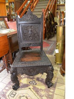 Carved indian hardwood chair