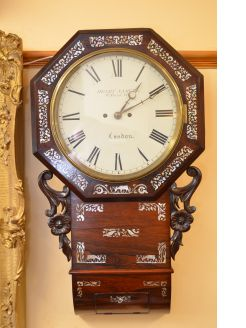 19th century rosewood & mother of pearl inlaid double fusee wall clock
