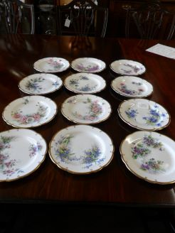 Set  of Twelve Hand Painted Aynsley Plates
