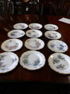 Set  of Twelve Hand Painted Aynsley Plates