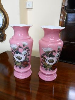 Pair Victorian Glass Vases