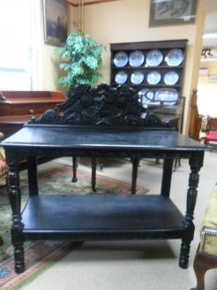 Victorian Carved Oak Hall Table.