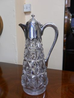 Silver Mounted Cut Glass Claret Jug.