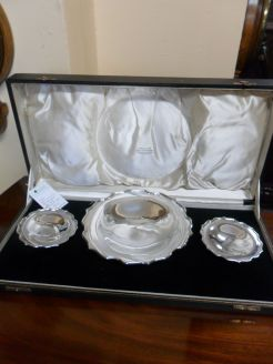 Cased Set of Silver Bon-Bon Dishes