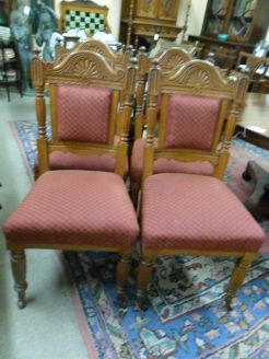 Set of Four Victorian Oak Chairs