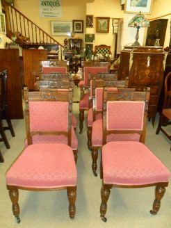 Set of Eight Victorian Oak Dining Chairs.