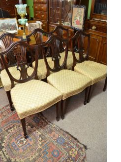 Set of six mahogany hepplewhite dining chairs