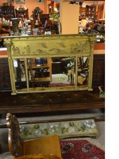 Gilt framed regency mirror/ overmantle