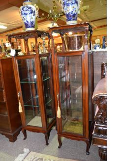 Pair of Edwardian mahogany pedestals
