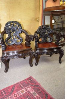 Pair of carved chinese armchairs