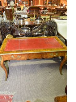 19th century burr walnut writing table with red leather top