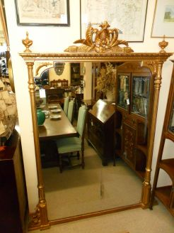 Large victorian gilt framed mirror / overmantle