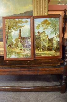 Pair of framed painted porcelain panels