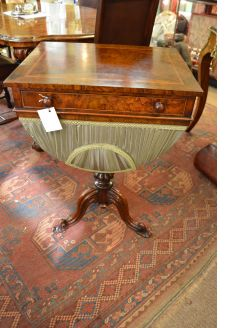Victorian burr-walnut sewing table