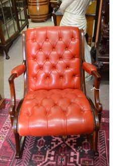 Mahogany leather rocking armchair